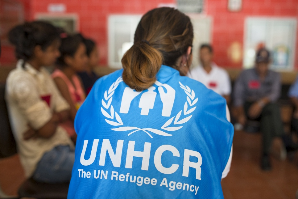 UNHCR staff meet with members of the communities at The Neal Family Community Cente is located in the area of Asentamientos Humanos (Human Settlements) in San Pedro Sula.
