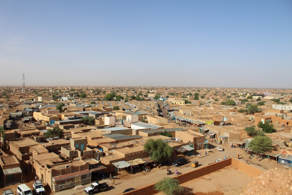 "Niger. Bird's eye view of the town of Agadez - the ""cross roads of migration"" in West Africa"