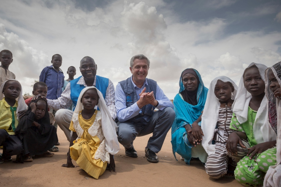 Sudan. High Commissioner for Refugees Filippo Grandi visits refugees from South Sudan at their home