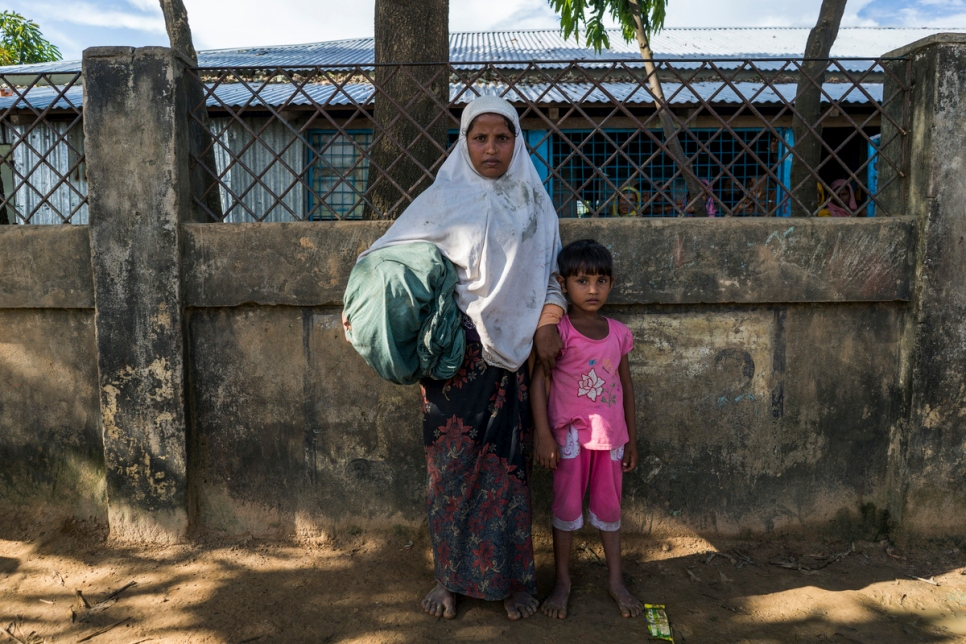 Bangladesh. Newly arrived Rohingya refugees seek help from UNHCR