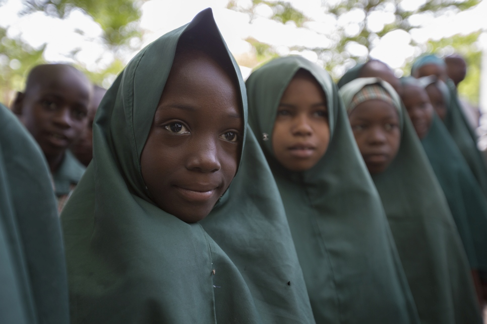 Students at Mustapha's school in Maiduguri, Borno State, Nigeria line up for morning assembly.