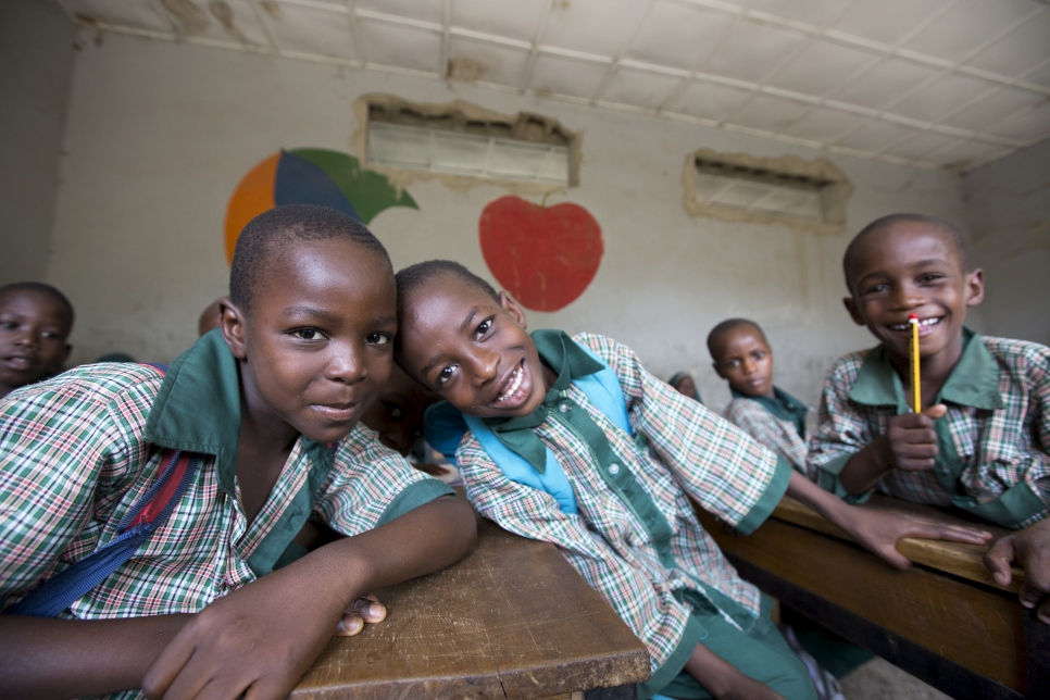 Ayuba Mustapha, 8, and his best friend Adam Alhaji, 8, and Abubakar Muhammed, 8, Future Prowess Islamic Foundation School (I), Maiduguri, Borno State, Nigeria.