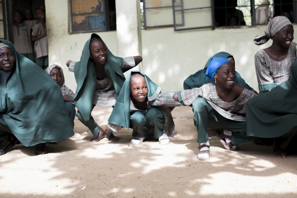 Students of Future Prowess Islamic Foundation School (I) during P.E., Maiduguri, Borno State, Nigeria.