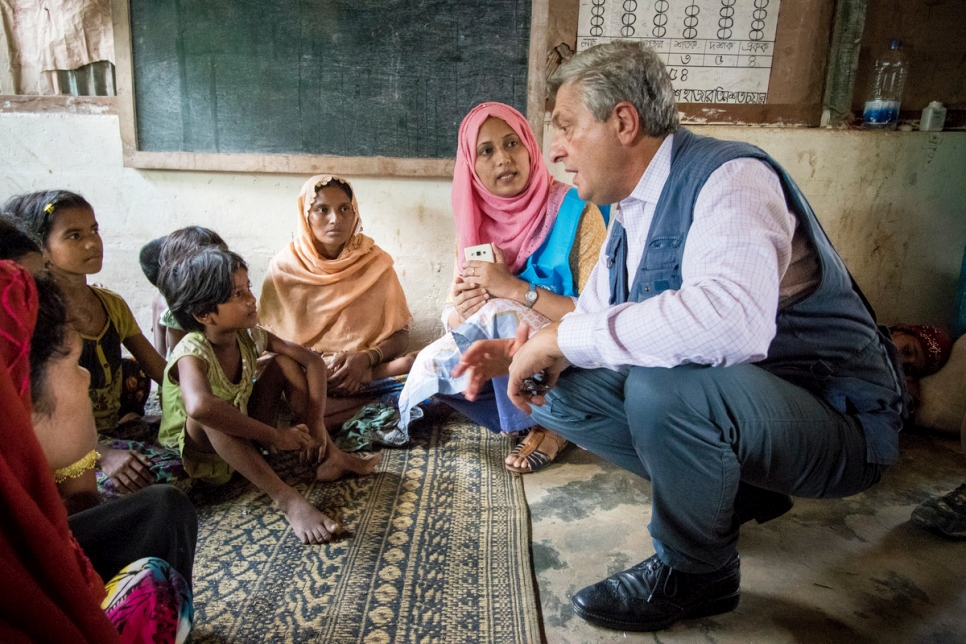 Bangladesh. UNHCR High Commissioner for Refugees Filippo Grandi visits Rohingya at Kutupalong Refugee Camp