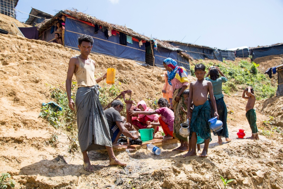 Bangladesh. Rohingya refugees struggle with clean water and sanitation in Kutupalong extension site