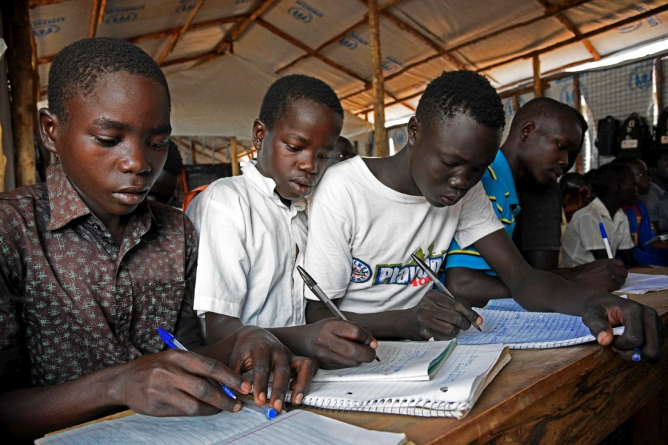 Uganda. The overcrowded school educating South Sudanese refugees