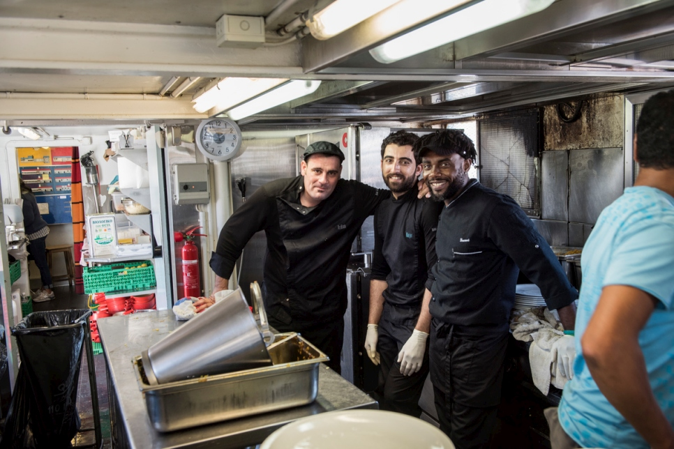 Eze (right) with head chef Adrian (left) and kitchen assistant Mejer.