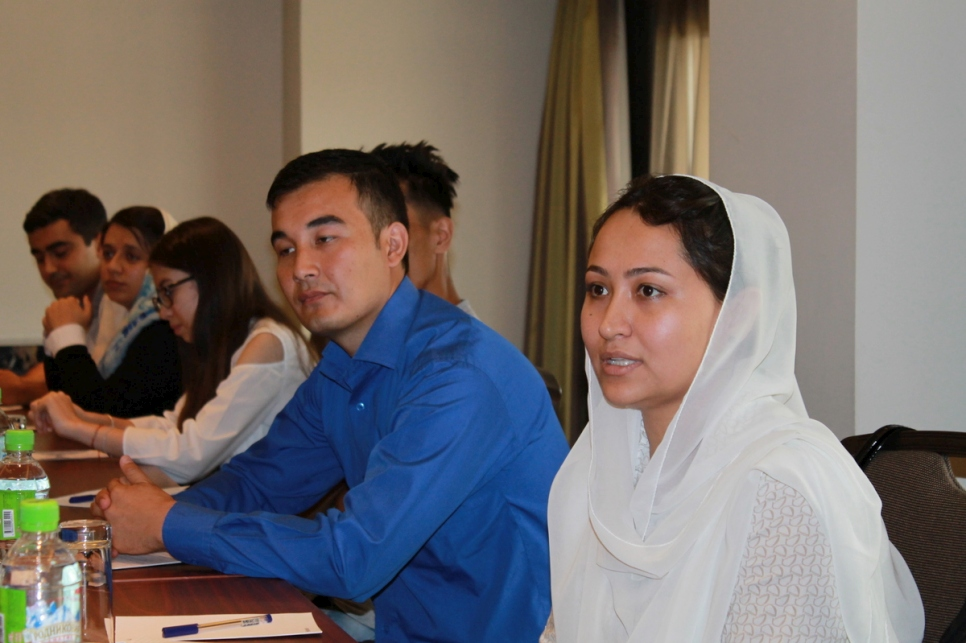 Tajikistan. Afghan refugee Nargis at the first introductory meeting of the Sheraton Hotel Apprenticeship Program.