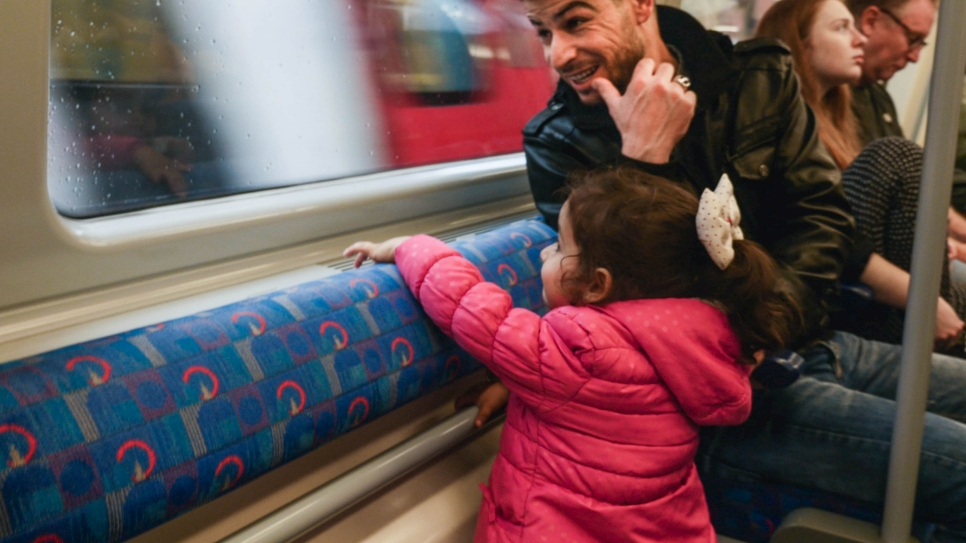 First trip on the London Underground for a Syrian family who were resettled from the Bekaa Valley, Lebanon. in 2016.