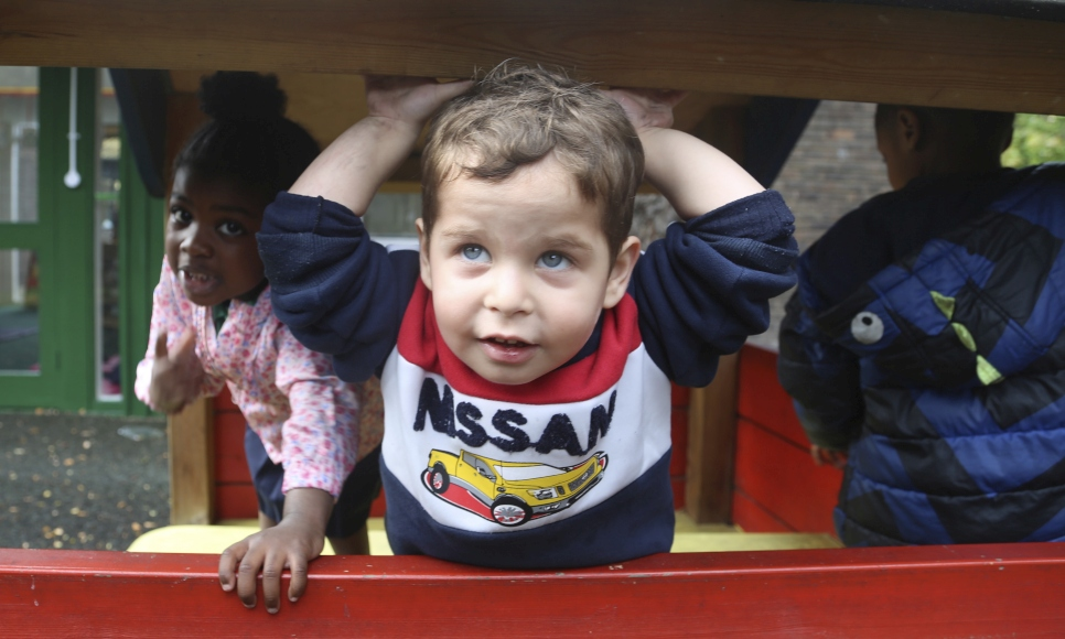 3-year-old Joud plays at a nursery in South London.