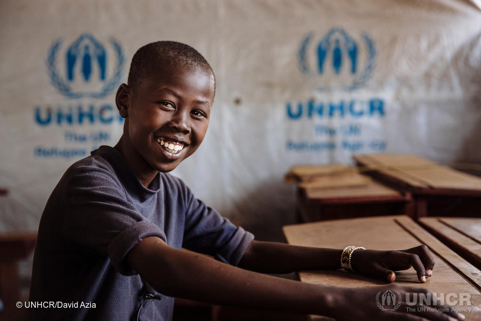 Uganda. South Sudanese refugee John Luis at Ofonze Primary School in Bidibidi settlement