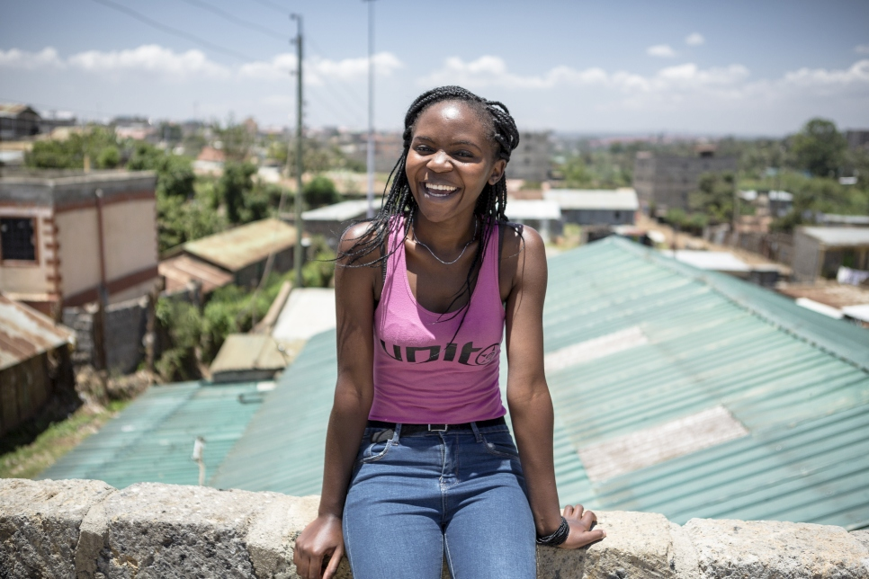 Kenya. Burundian refugee student on rooftop of student housing in Nairobi