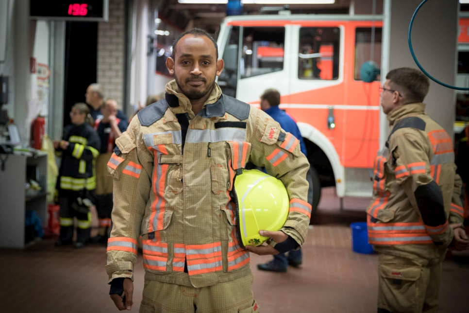 Germany. Somali asylum-seeker joins local fire brigade
