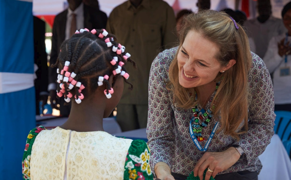 Princess Sarah Zeid is greeted by women at the Maban refugee camp.
