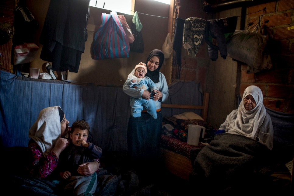 Syria. Displaced persons living in an unfinished building in rural Damascus