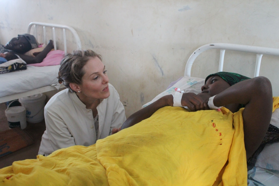 Princess Sarah comforted a young woman whose premature baby died the night before at a maternity hospital in Kakuma refugee camp, Kenya. The facility lacked basic equipment and expertise which would have kept them alive, and saved their mother's from grief.