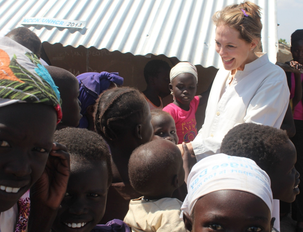 A small crowd of refugee children from South Sudan greeted Princess Sarah at Kakum camp in Kenya. About 65% of the 2.1 million South Sudanese refugees are aged under 18 years of age.