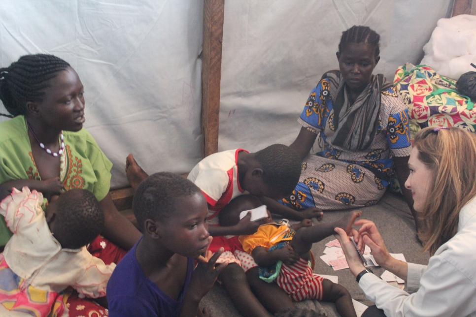 "A recently arrived refugee mother at the Kakuma transit centre told Princess Sarah about the difficult journey fleeing conflict in South Sudan with very young children, including those of a woman who they disappeared on the way. ""You've been very strong to get here and look after your children,"" the Princess told her. 85% of South Sudanese refugees are women and children."