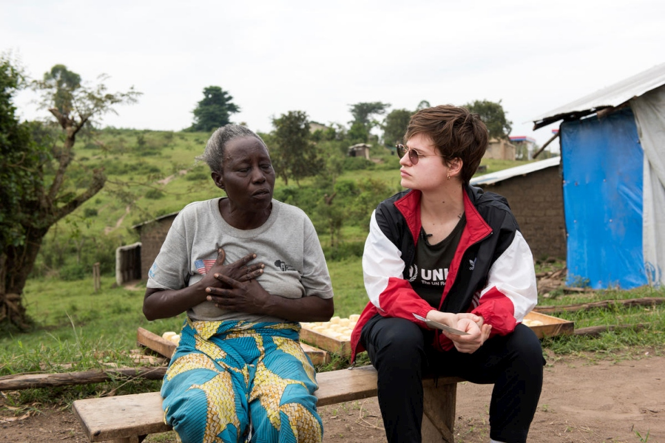 Uganda. Christine talks with Imani who works at the Bakery in Ramwanja camp