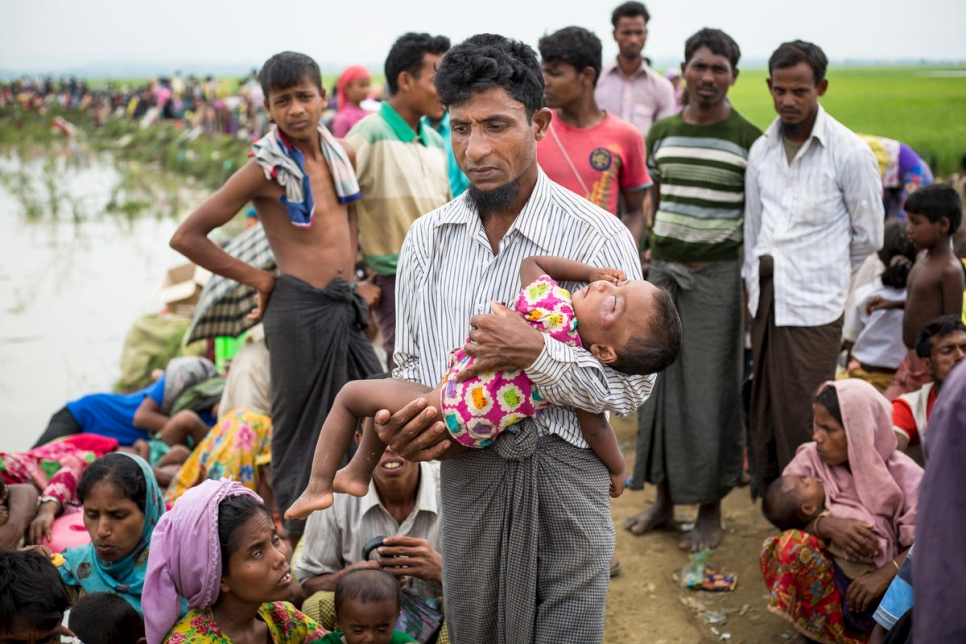 Bangladesh. Thousands of new Rohingya refugee arrivals crossing the border from Myanmar
