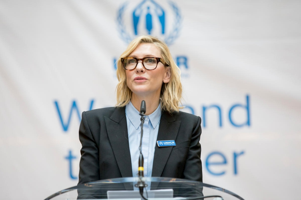 Switzerland. UNHCR Goodwill Ambassador Cate Blanchett addresses UNHCR staff at its Headquarters.