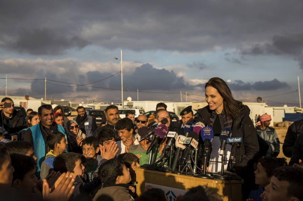 UNHCR Special Envoy Angelina Jolie meets Syrian refugees at Za'atari camp in Jordan.