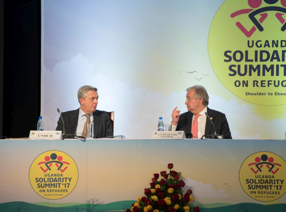 UN Secretary-General Antonio Guterres co chairs the Uganda Solidarity Summit 2017 on refugees, here with High Commissioner for Refugees Filippo Grandi.