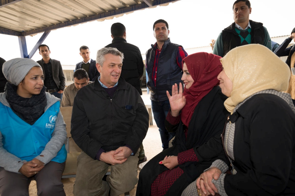 Jordan. UN High Commissioner for Refugees visits Syrian refugees at Employment Office in Zaatari camp