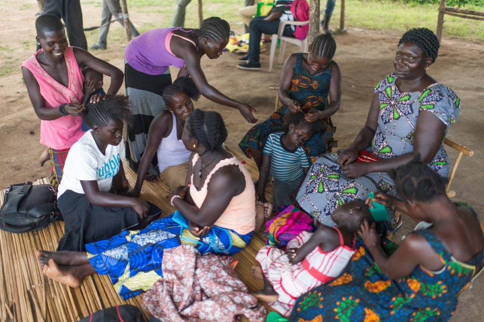 A group of South Sudanese refugees and war widows run a beauty salon at Meri refugee site in the DRC.