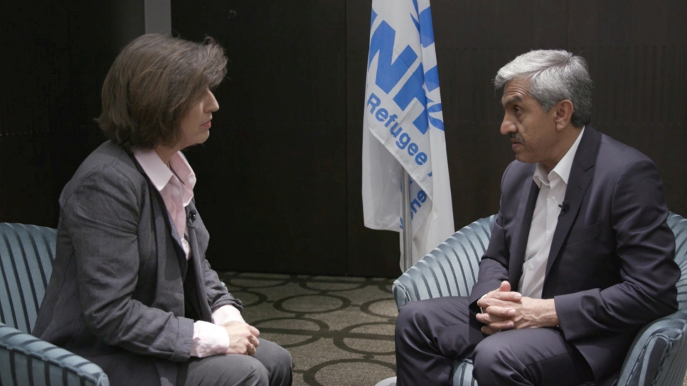 Sajjad Malik, UNHCR Representative in Syria, speaking to Melissa Fleming, UNHCR Head of Communications and Chief Spokesperson