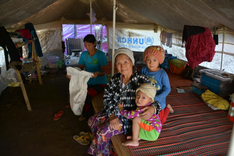Myanmar. Displaced ethnic Rawang in UNHCR tent