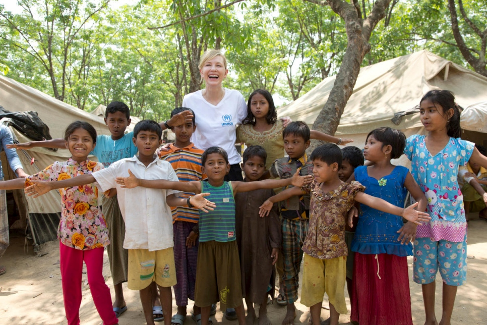 Bangladesh. UNHCR Goodwill Ambassador Cate Blanchett meets young Rohingya refugees at the UNHCR transit centre, Kutupalong refugee settlement.