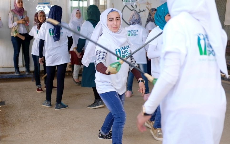 Jordan. The UNHCR \X4AWithRefugees solidarity world tour commences with a sports day at Jordan's Za'atari refugee camp