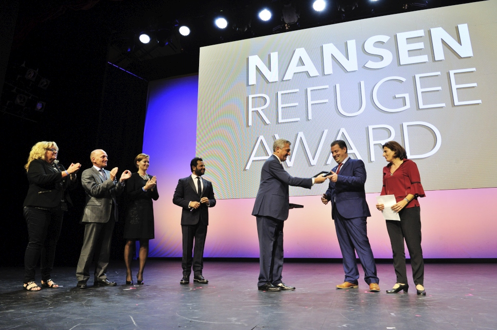 Konstantinos Mitragas accepts the 2016 Nansen Refugee Award on behalf of the Hellenic Rescue Team (HRT). As secretary-general, Mitragas leads a team of more than 2,000 HRT volunteers, who have been rescuing people from the Aegean Sea and Greek mountains since 1978.