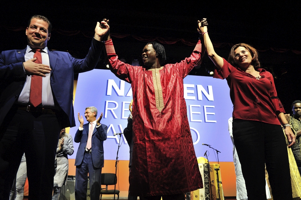 Senegalese singer and guitarist Baaba Maal with Konstantinos Mitragas and Efi Latsoudi  at the 2016 Nansen Refugee Award ceremony.