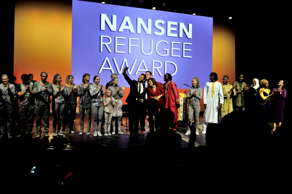 Lebanese TV host and UNHCR High Profile Supporter, Neshan, with Konstantinos Mitragas and Efi Latsoudi  at the 2016 Nansen Refugee Award ceremony.