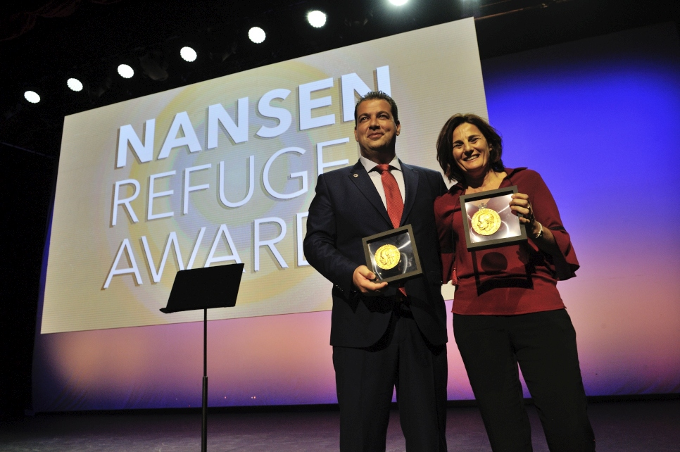The HRT and Efi Latsoudi receive the 2016 Nansen Refugee Award at a ceremony in Geneva, for their outstanding work during 2015 when they helped thousands of refugees arriving in Greece.