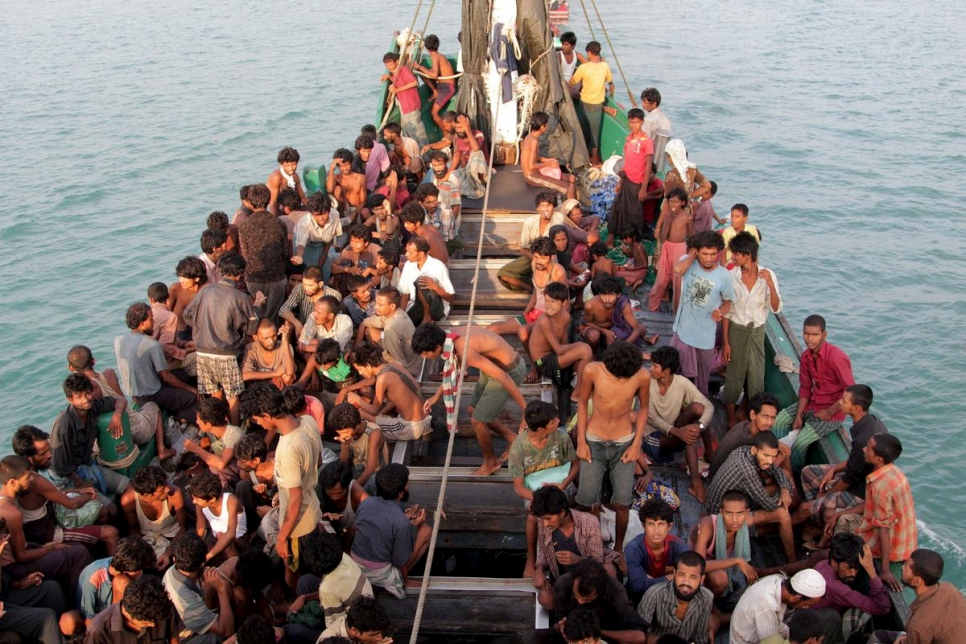 At Sea. Rohingya boat people