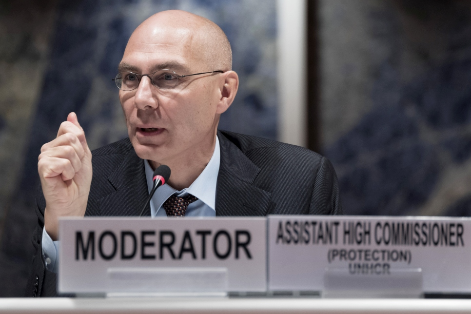 Volker Türk, UNHCR's Assistant High Commissioner for Protection, participates in the dialogue at the Palais des Nations in Geneva.