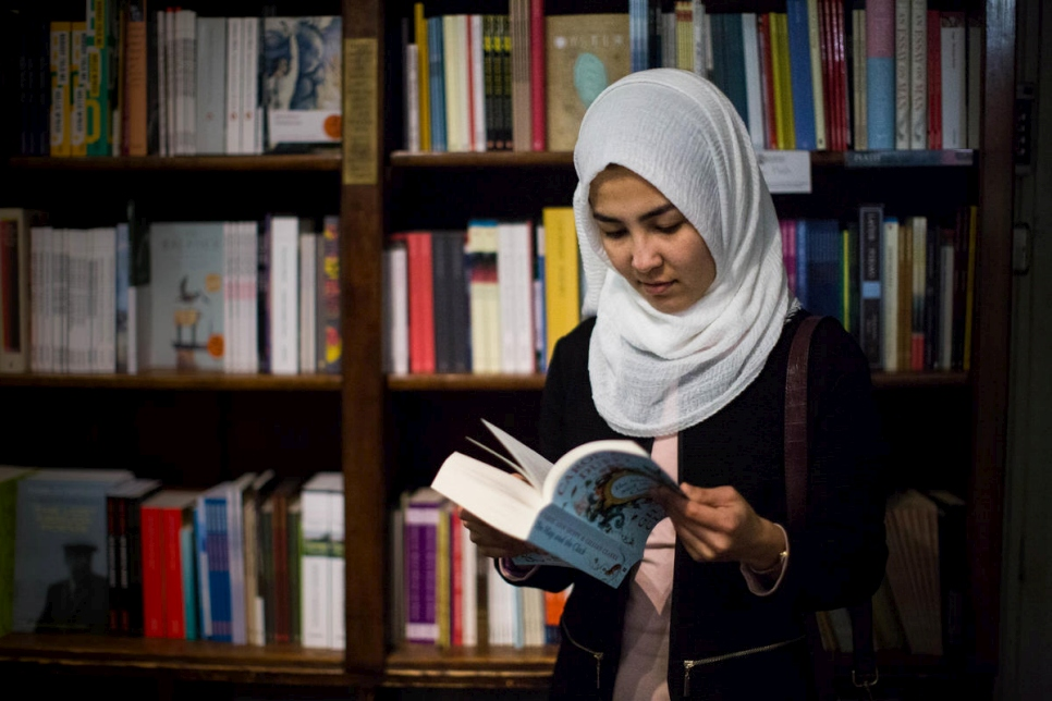 19 year-old Shukria Rezaei in the Poet's Corner of an Oxford bookshop.