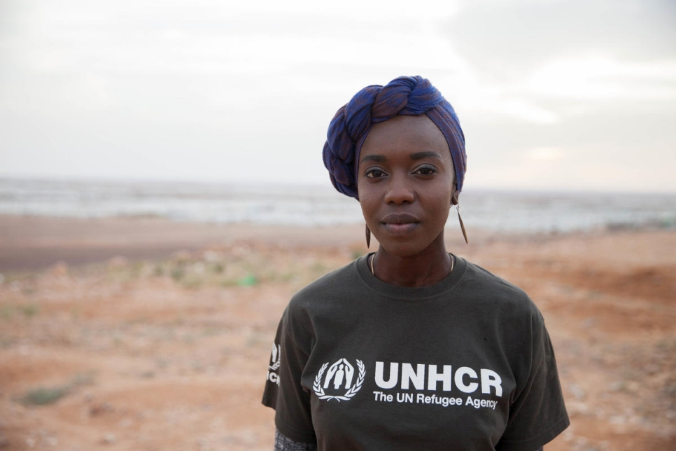 Portrait of UNHCR Goodwill Ambassador Emi Mahmoud against the backdrop of Azraq refugee camp in Jordan in March 2018.