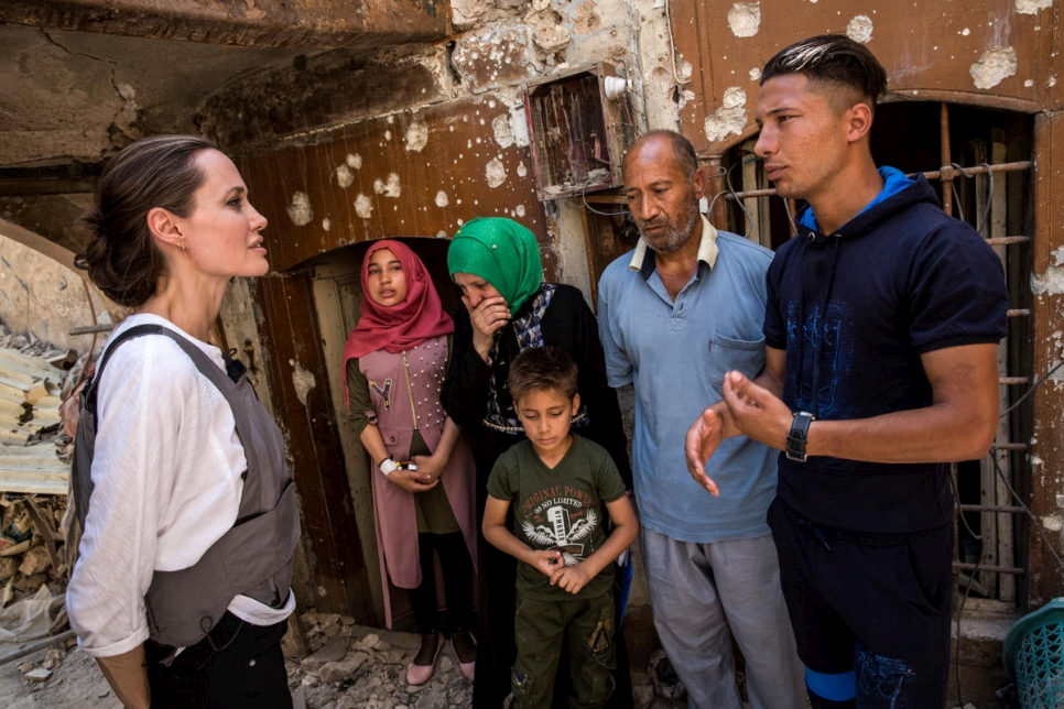 UNHCR Special Envoy Angelina Jolie meets with five members of a displaced family in West Mosul, Iraq.
