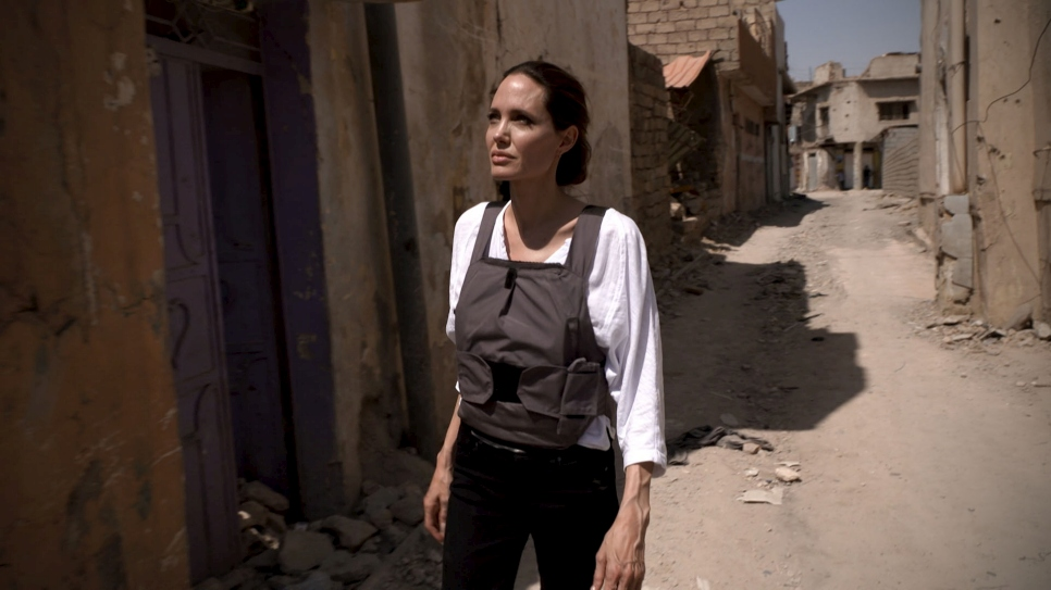 UNHCR Special Envoy Angelina Jolie walks among the rubble in West Mosul, Iraq.