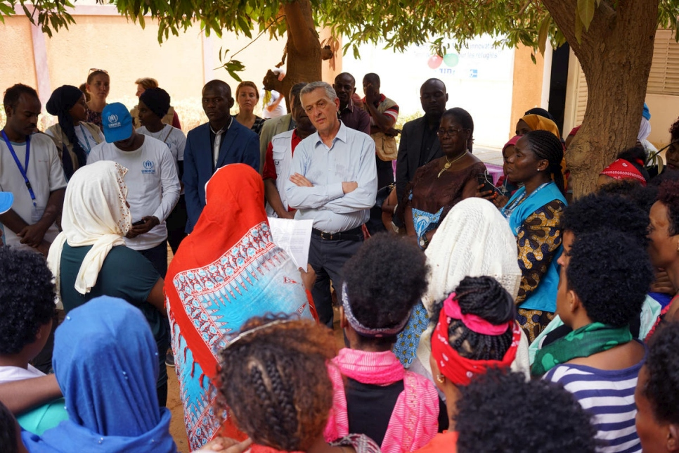 Niger. Migrants and refugees having been freed from captivity in Libya greet UN High Commissioner for Refugees
