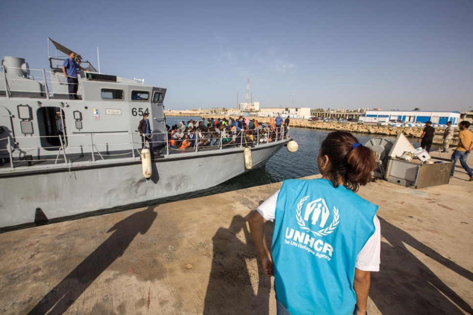 Libya. Intercepted refugees and migrants arrive in Tripoli
