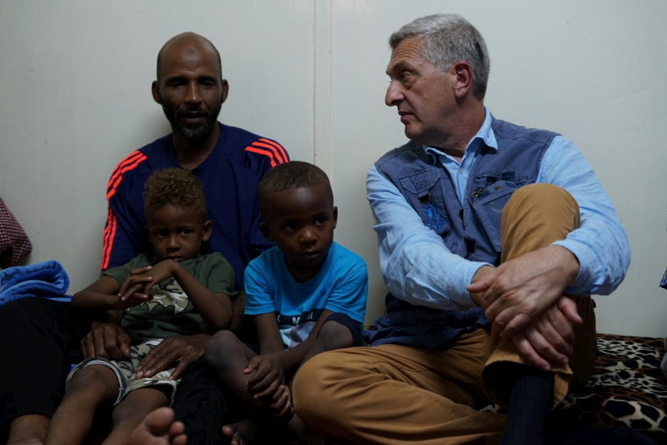 Libya. UN's High Commisssioner for Refugees meets displaced families