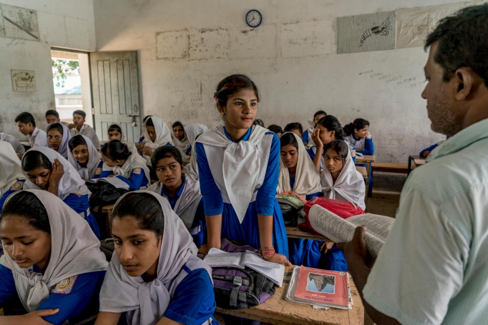 Bangladesh. Rohingya Refugees from Myanmar and local Bangladeshi students attend school together