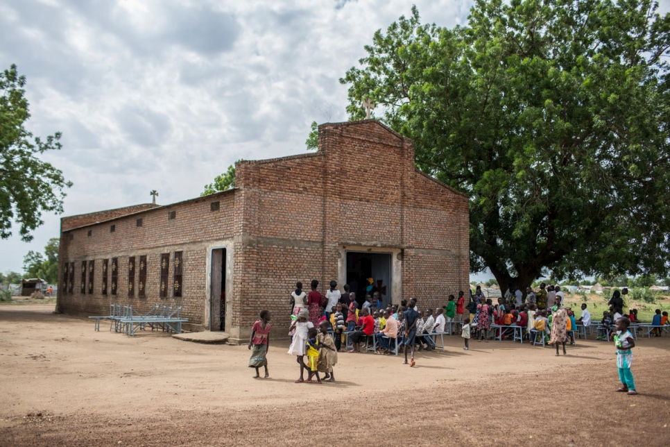 The church where Dr. Atar attends mass with refugees and members of the local community in Bunj, South Sudan.