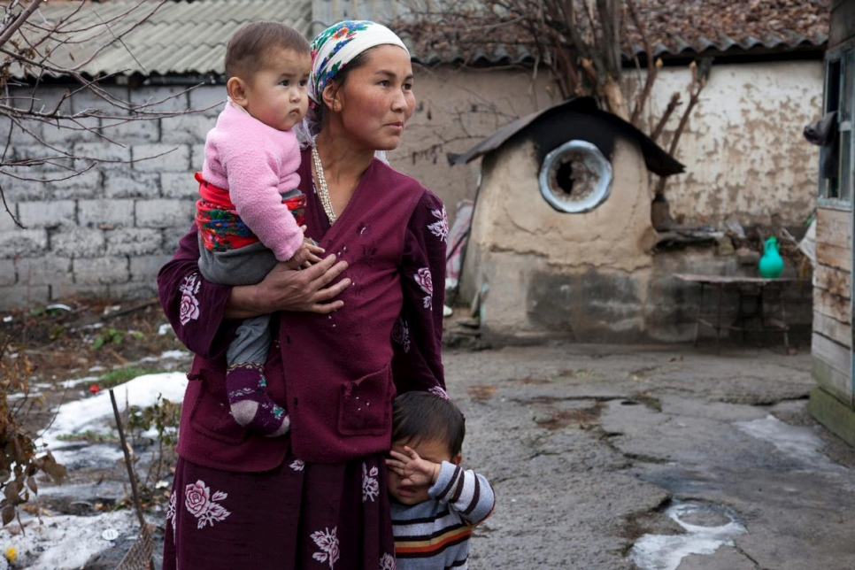 She arrived to Kyrgyzstan from Tadjikistan, without any valid documents. Her mother-in-law only has an old expired Soviet passport. Her children, born in Kyrgyzstan, do not have their births registered, therefore she cannot claim any social benefits for her children. Being almost illiterate she requires assistance from UNHCR's NGO partners to approach passport registration services and other official institutions to get documents for herself and her children. She admits that often she does not have money for public transport to to the district passport registration office. The only source of income for families like hers is 15-18 hours of hard work in the fields only during spring and summer.