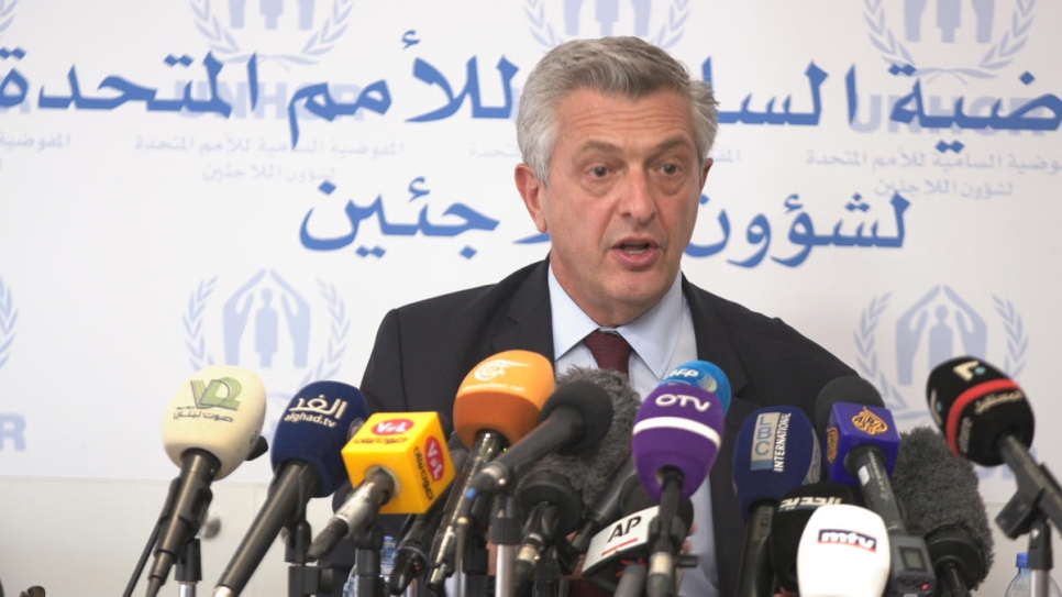 Lebanon. Press conference with UN High Commissioner for Refugees Filippo Grandi in Beirut, Lebanon on Friday 31 August 2018